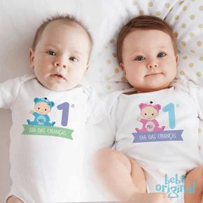 body-dia-das-criancas-primeiro-dia-ursinho-menino-e-menina