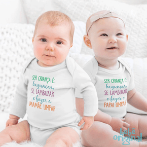 body-dia-das-criancas-fazer-a-mamae-limpar-bebe-menino-e-menina