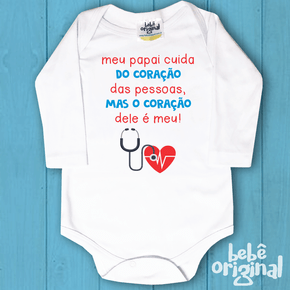 Body-de-bebe-profissoes-Papai-cuida-do-coracao---Manga-Longa